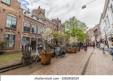 15.04.2018 - Arnhem, Netherlands. Bars and shopping streets in Arnhem.  One of the largest and oldest cities in the country and a capital of the province Gelderland, Arnhem is both ancient and modern.