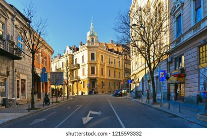 15.04.2018. colorful facade of old architecture bildings and traffic with cars on the street of Belgrade, Serbia