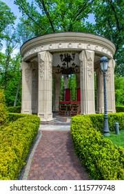 15.06.2018 - Kiev, Ukraine.  Garden in the former residence of the President of Ukraine Viktor Yanukovych in Mezhyhiria