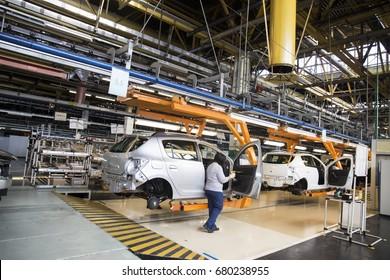 15.07.2017 . Russia. Togliatti. Open Day at the Automotive Factory AvtoVAZ.  Cars on the automobile conveyor in the factory