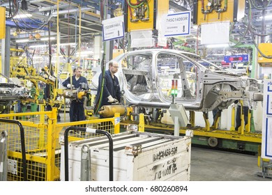 15.07.2017 . Russia. Togliatti. Open Day at the Automotive Factory AvtoVAZ.  Conveyor in an automobile factory