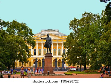 15.08.2017. Monument to Alexander Pushkin on Ploshchad Iskusstv (Arts Square) in front of the Russian Museum (Mikhailovsky Palace) in St.-Petersburg, Russia