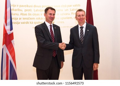 15.08.2018. RIGA, LATVIA.  Jeremy Hunt, Minister of Foreign Affairs of United Kingdom and Edgars Rinkevics, Minister of Foreign Affairs of Latvia, during Mr. Jeremy Hunt official visit in Latvia.