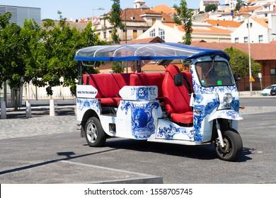 15.08.2019 Portugal, Lisboa. tuc tuk on street of Lisbon in Portugal. Public transport in city.