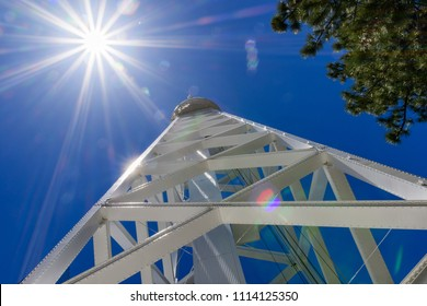 The 150-foot solar tower on top of Mt Wilson (built in 1910) is used primarily for recording the magnetic field distribution across the Sun's face several times a day; Mt Wilson, California