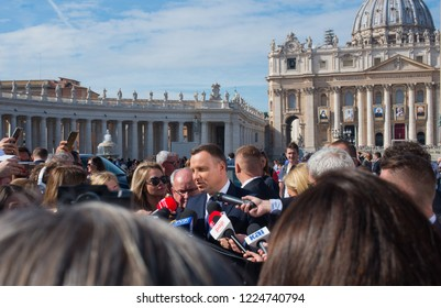 15.10.2018. Vatican, Roma, Italy. President of Poland Andrzej Duda. A press conference on the Basilica St. Peters background