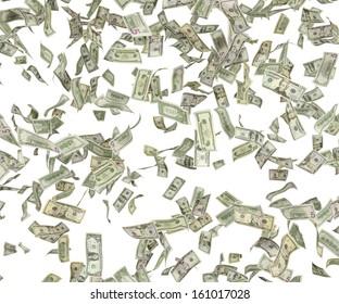 1,5,10,20,50,100 flying dollar bills, isolated on white.
