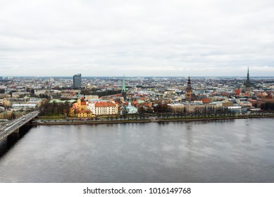 15.11.2017. RIGA,LATVIA.  Riga Castle on the left side and Riga Old town on the right side.