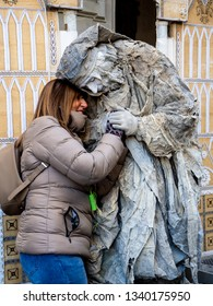 15-16 February 2019, Florence, Italy. Street artists make a living working in the street for tourists.