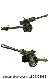 152-mm howitzer model 1943 D-1. Soviet artillery during the Second World War. Retro weapons. Isolated on white with clipping path.