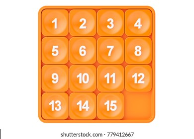 15-puzzle, game of fifteen. 3D rendering isolated on white background
