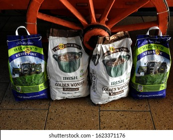 15th January 2020, Drogheda, Ireland. Bags of Irish potatoes outside a vegetable store in Drogheda, County Louth, Ireland.