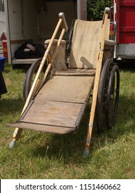 15th July 2018- A 1930's Richards wheelchair, originally supplied by Halfords, at a vintage show at the Gwili Railway, Bronwydd Arms, Carmarthenshire, Wales, UK.