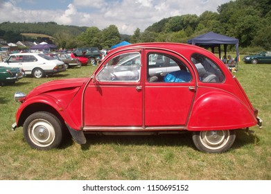 15th July 2018- A classic French Citroen 2CV at a vintage car show at the Gwili Railway, Bronwydd Arms, Carmarthenshire, Wales, UK.