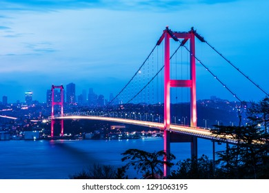 15th July Martyrs Bridge (15 Temmuz Sehitler Koprusu). Istanbul Bosphorus Bridge at night. Istanbul, Turkey.