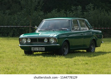 15th June 2018- A lovely Ford Cortina saloon car at a classic vehicle show at the Gwili Railway, Bronwydd Arms, Carmarthenshire, Wales, UK.