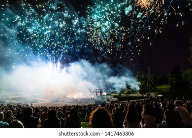 15th May 2019 – Madrid, Spain: a crowd of people in Parque Tierno Galvan watching the fireworks show during the San Isidro Festival of Madrid