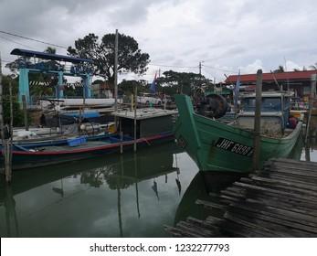 15th NOV 2018 – JOHOR, MALAYSIA : Street scene of Fisherman Harbor at Parit Jawa, Muar, Johor during late evening.