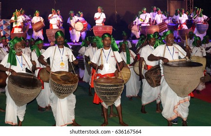 15th November 2016, Tata Nagar, India. An opening symphony of 151 nagaras, by groups of Santhal, Ho and Munda tribesmen, formally launched Samvaad 2016– A Tribal Conclave organised by Tata Steel