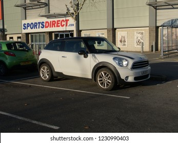 15th November 2018- A Mini Cooper D Paceman parked in a retail area at Carmarthen, Carmarthenshire, Wales, UK.