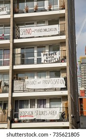 15th October 2017, St Lukes Estate, Islington, London, residents protest by stringing banners across their balconies.