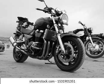 15th September 2019- A classic Suzuki GSX 1400 K6 motorcycle parked on the sandy beach at Pendine, Carmarthenshire,   Wales, UK.