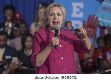 16 August 2016 - Philadelphia,USA - Hillary Clinton Democratic Presidential Candidate holds voter registration in Philadelphia.