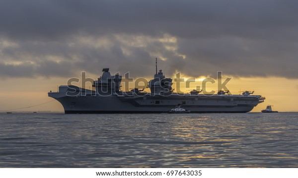 16 August 2017, English Channel near Portsmouth, England; HMS Queen Elizabeth Heads for her Home Port of Portsmouth for the First Time.