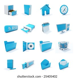 16 blue plastic 3d icons isolated on white