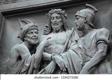 16 February 2015 St. Petersburg  Russia sculpture on St. Isaac's Cathedral. betrayal of Judas, Judas Jesus Roman governor Pontius Pilate