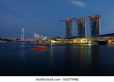 16 January 2017 - Marina Bay at Twilight, Singapore city scape