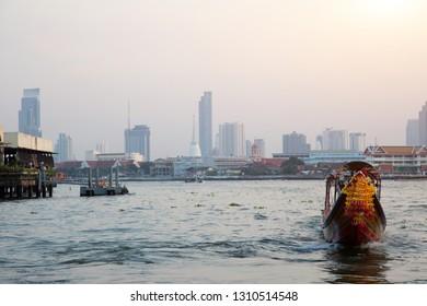 16 January 2019 ,Bangkok.Thailand. vintage boat on water for tourism at Bangkok Thailand riverside of Joa-praya river