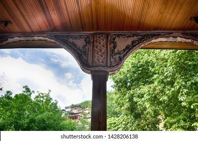 16 JUN 2018 - Manisa, Turkey - Darkale Mosque's pillar design in Soma, Manisa, Turkey