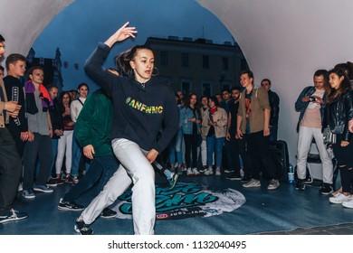 16 June 2018 Minsk Belarus Street walks A girl dances in front of a group of people
