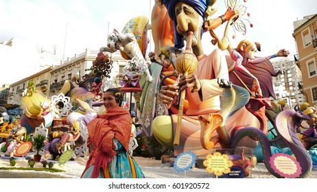 16 MARCH 2017. Satirical ninots (puppets) on Fallas in Valencia. Papemache and polystyrene models are displayed during traditional celebration in praise of St Joseph.  16 MARCH 2017 in Valencia, Spain