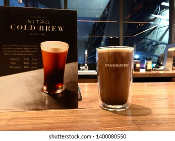 16 May 2019; Bangkok Thailand: Starbucks Nitro Cold Brew Coffee at Starbucks Siam Square One Flagship, Starbucks Reserve Cafe Coffee Shop.