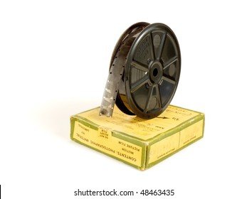 16 mm / 30 meters (100 ft) motion picture film reel and its box, isolated over white background