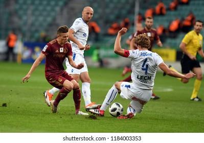 16 OCTOBER 2018 - WARSAW, POLAND: Polish Extra League LOTTO Ekstraklasa football match Legia Warszawa - Lech Poznano/p Sebastian Szymanski (Legia Warszawa) Thomas Gogne (Lech Poznan)