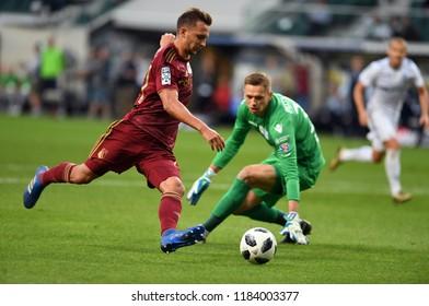 16 OCTOBER 2018 - WARSAW, POLAND: Polish Extra League LOTTO Ekstraklasa football match Legia Warszawa - Lech Poznano/p Dominik Nagy (Legia Warszawa) Matus Putnocky (Lech Poznan)