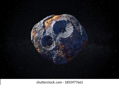 16 Psyche the large metallic asteroid ideal for space mining. This image elements furnished by NASA.