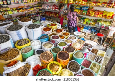 16 SEPTEMBER 2014 - XIZHOU, CHINA - Dried spices for sale at a market in the ancient village of Xizhou, near Dali, Yunnan