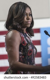 16 September 2016 - Fairfax ,USA - First Lady Michelle Obama campaigns for Hillary Clinton in Fairfax George Mason University.