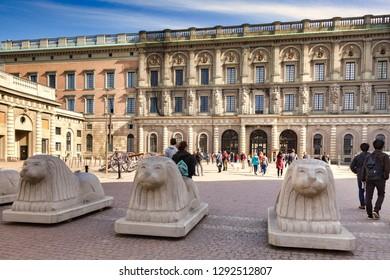 16 September 2018: Stockholm, Sweden - Carved concrete bollards at Stockholm Royal Palace, Sweden.