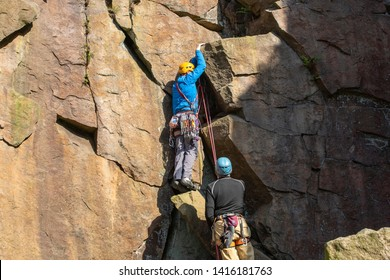 16.05.19 Wilton 3, Belmont, Bolton, Lancashire, UK, An evening spent rock climbing showing equipment and 4 climbers on various different routes