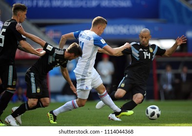 16.06.2018. Moscow, Russian:  Finnbogason in action during the  match Fifa World Cup Russia 2018, Group D, football match between Argentina v Iceland in Spartak Stadium in Moscow.