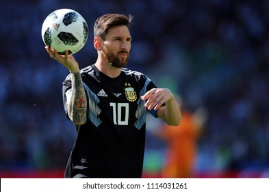 16.06.2018. Moscow, Russian: Leonard Messi in action during the  match Fifa World Cup Russia 2018, Group D, football match between Argentina v Iceland in Spartak Stadium in Moscow.