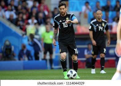 16.06.2018. Moscow, Russian: Lionel Messi in action during the  match Fifa World Cup Russia 2018, Group D, football match between Argentina v Iceland in Spartak Stadium in Moscow.