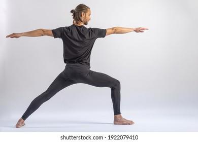 (16-104) Warrior Pose B (Virabhadrasana B) Yoga Posture (Asana)
