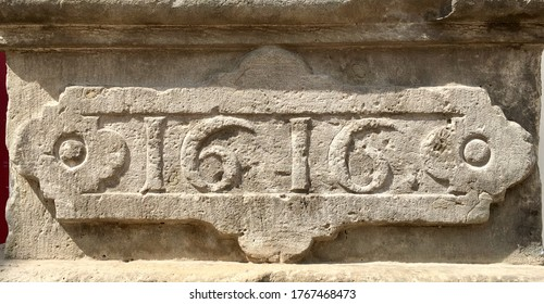 """""""1616"""" carved in sandstone and seen in sunlight – taken from an inscription produced that year"""