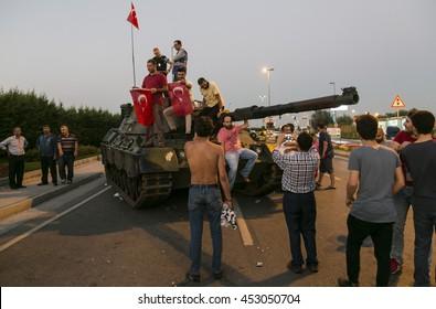 16/17/2016, Istanbul, Turkey, AKP supporters are cheering after the failure of military coupe attempt in Turkey.